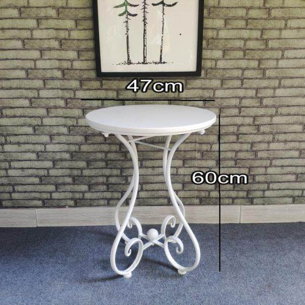 RuYiYu - 47x60cm, Sofa Corner Small Coffee Table, Simple Casual Small Round Table, European ins Wrought Iron Solid Wood Coffee Table