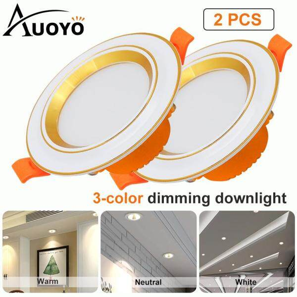 Auoyo3W LED Downlight 2.5 Inch LED Recessed Downlight 3 Color Changing Dimmable Highlight Ceiling Flat Spotlights Ceiling Light 300LM for Bathroom Hallway Stage Office