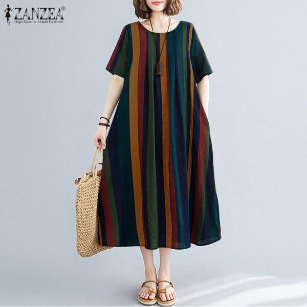 ZANZEA Đầm Xòe Nữ Kẻ Sọc Đầm Maxi Dài In Hình Chữ A Rộng Thùng Thình