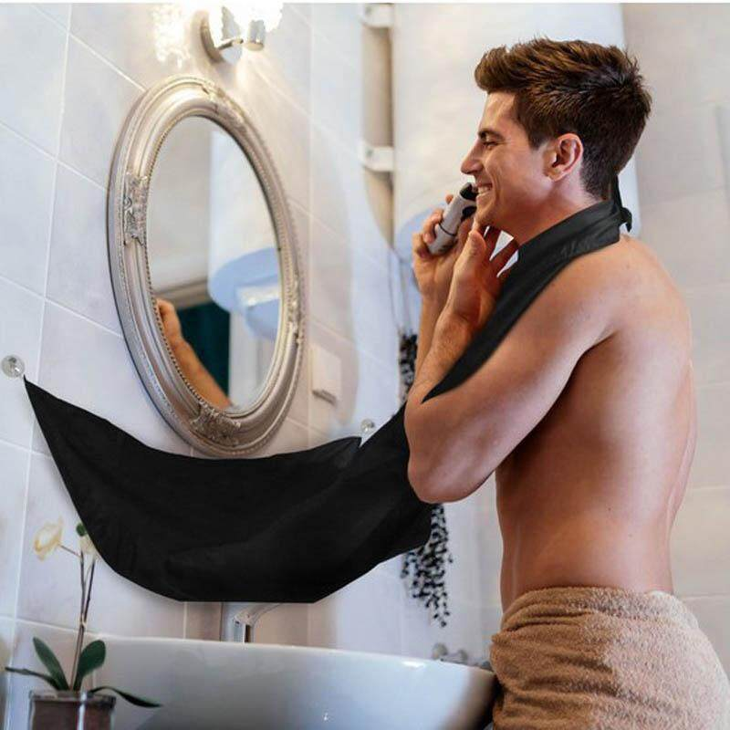 82x130cm Facial Beard Shave Apron Cape Bib Whisker Trimming Catcher Cloth Black Hair Cut Cloth By Sushine Baby.