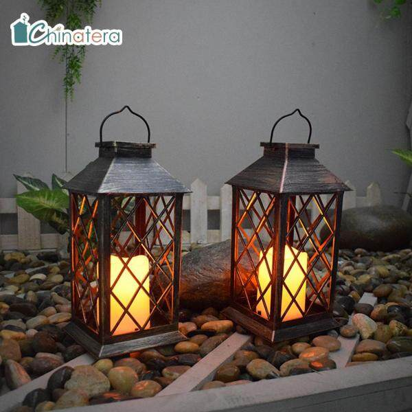 [Chinatera] Đèn Lồng Cổ Điển Đèn LED Năng Lượng Mặt Trời, Nến Đèn Lồng Hoài Cổ Ánh Sáng Lấp Lánh Không Thấm Nước Trang Trí Treo Vườn Ngoài Trời