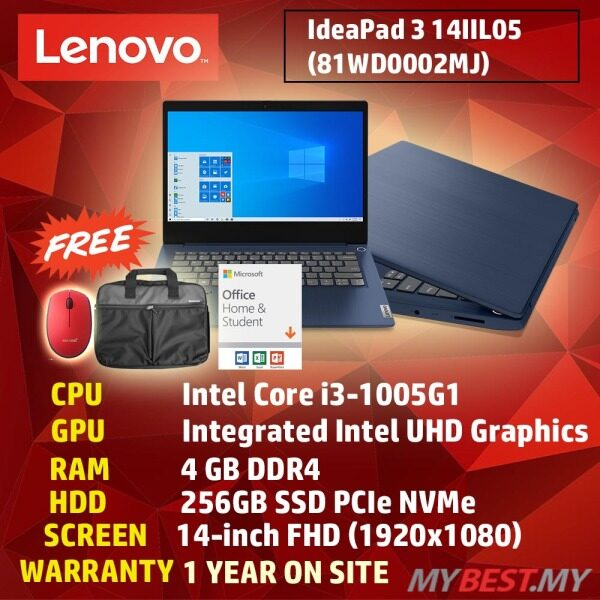 LENOVO IDEAPAD 3 14IIL05 81WD0002MJ (ABYSS BLUE) LAPTOP 14 (I3-1005G1/4GB/256GB SSD/14 FHD/W10/OFF HOME N STUDENT 2019/1YR ONSITE) Malaysia