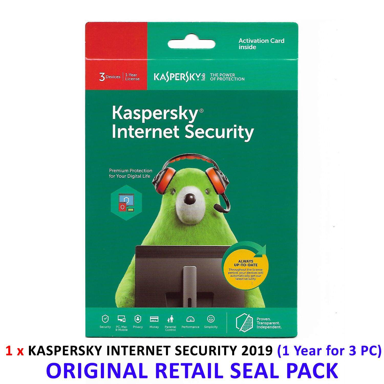 Kaspersky Internet Security 2019 - 1 Years Subscription For 3 Computer -  Original Retail Seal Pack