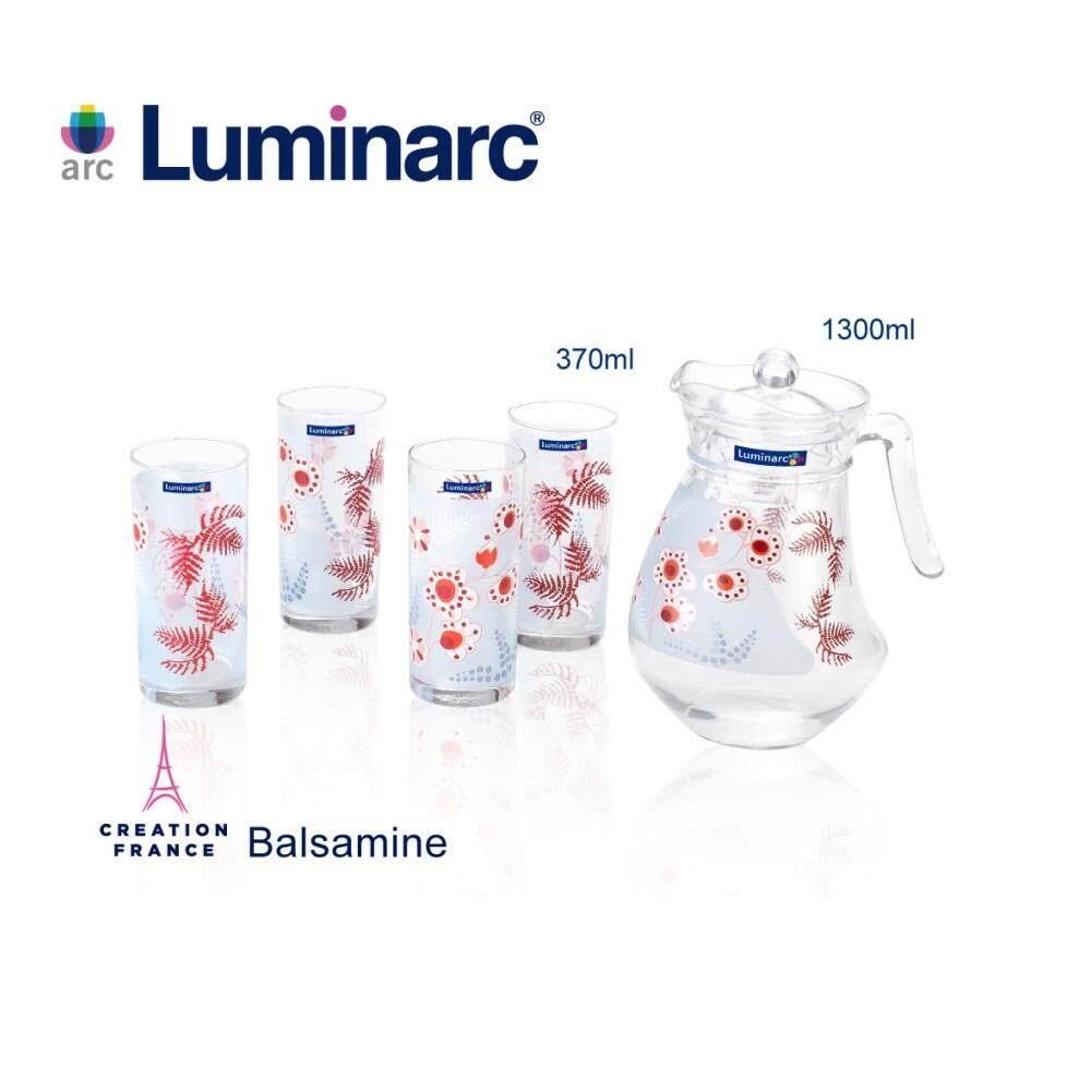 LUMINARC E6995 - Balsamine 6 piece 1.3L Jug and 4 370ml Glasses Set