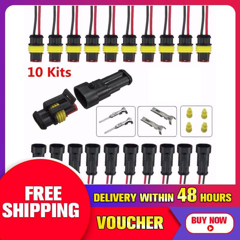 【free Shipping + Flash Deal】10sets Car Part 2 Pin 2 Way Sealed Waterproof Electrical Wire Auto Connector Plug Set By Freebang
