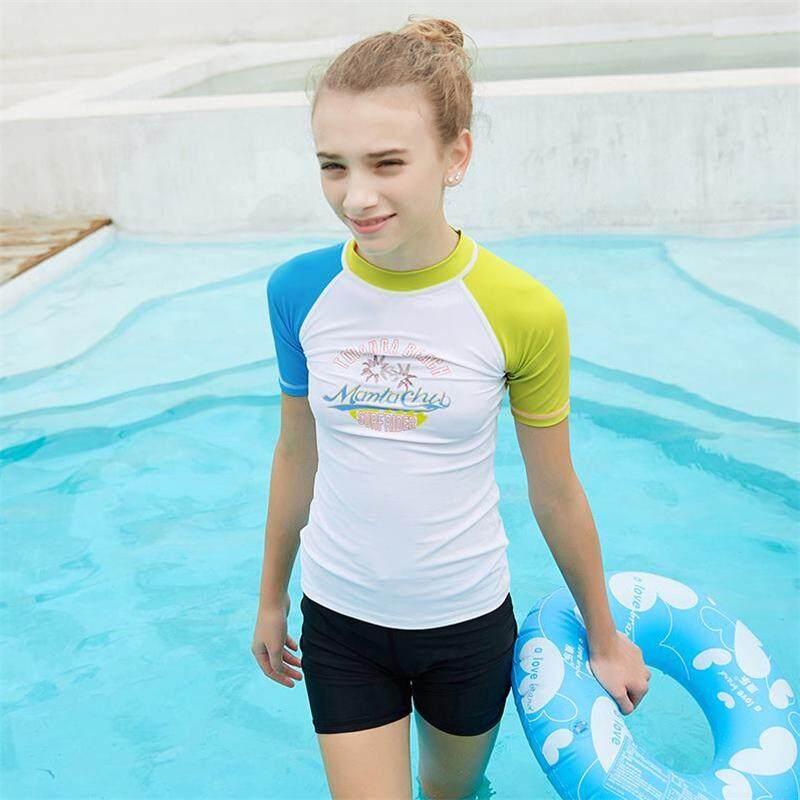56a7bfacba Luoke 2019 NEW girls swimsuit Cartoon pattern personality double sleeve  stitching soft elastic short-sleeved