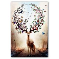 Tranh Treo Tường Nghệ Thuật Lucky Deer Canvas In Không Khung Hình Trang Trí Nhà (30Cm * 45Cm)