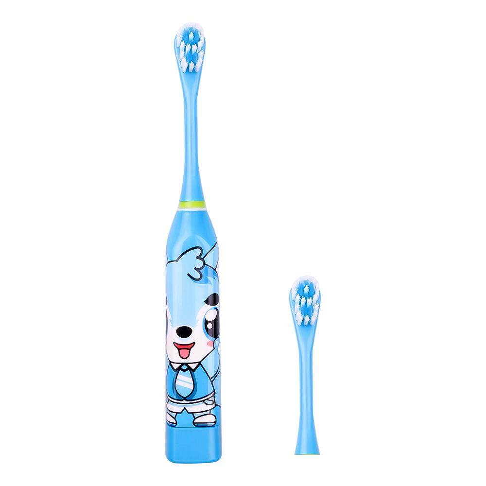 Kids Electric Toothbrush with 2PC Replacement Brush Head Double-sided Clean No Rechargeable Teeth Care Tool