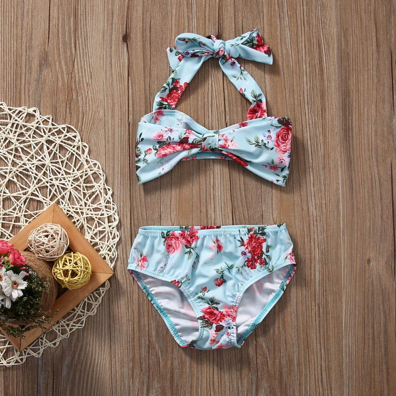 33bbc8ea9587 2 unids bebé Niñas Halter Bow bañadores de dos piezas Niña floral bikini  bañadores s traje de baño Natación traje
