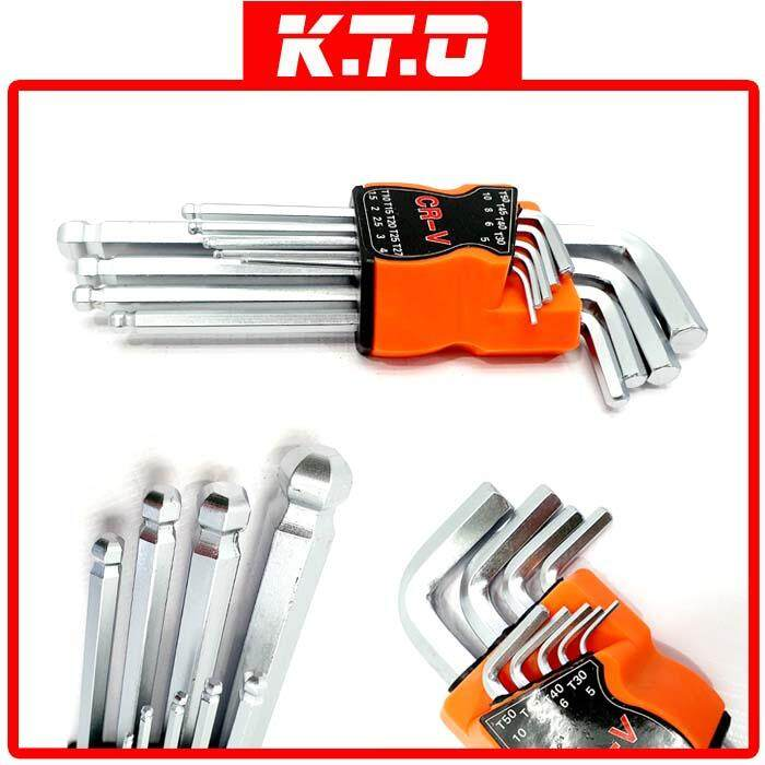 9 PIECES BULL POINT ALLEN KEY WRENCH SET 7  (T10 -T50)