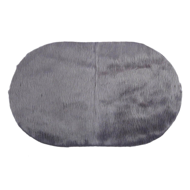 Imitation wool sofa cushion cushion carpet mat living room bedroom long blanket oval cushion 50x80cm dark gray