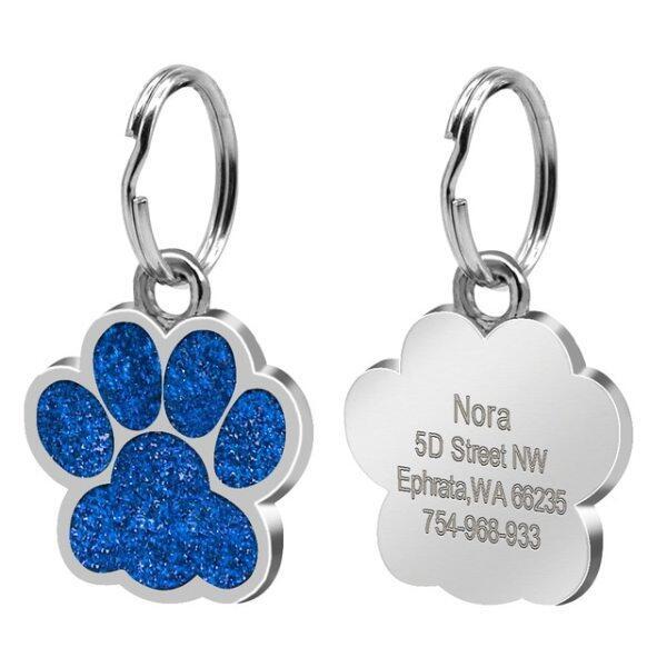 Con Chó Tag Phụ Kiện Vòng Cổ Chó Cưng Tùy Chỉnh Khắc Cá Nhân Mèo Con Chó Con ID Tag Thẻ Tên Bàn Chân Xương Bằng Inox Chống Mất
