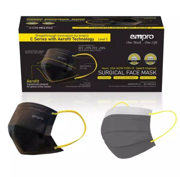 🔥 Ready Stock🔥Empro AEROFIT C Series - Surgical Face Mask MS31-3P (3 PLY) - Black and Grey