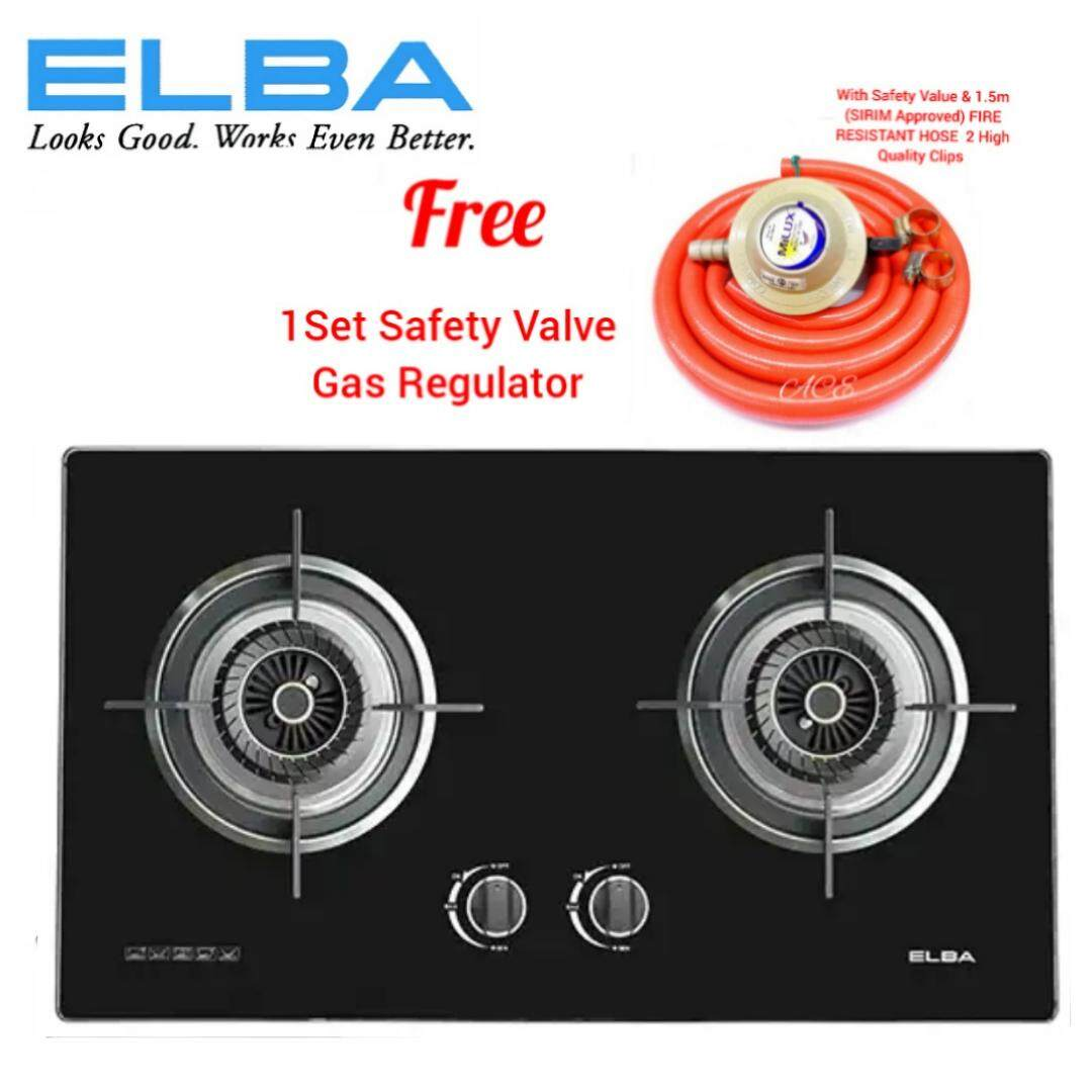 ELBA 2-Burners Glass Gas Hob EGH-F8582 G(FREE 1 Set Safety Value Gas Regulator)