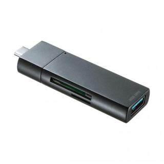 Đầu Đọc Thẻ Nhỏ Gọn Sanwa Type-C USB A 1 Với Cổng SD Micro SD Tương Ứng ADR-3TCMS7BK thumbnail