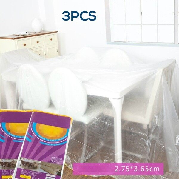 【Ho & ME Store】3×Polythylene Dust Sheet Large Outdoor Waterproof Cover Protection Plastic Clear
