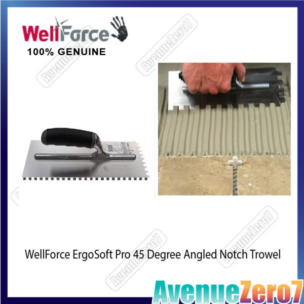 WellForce ErgoSoft Pro 45 Degree Angled Notch Trowel For Tiling Work [4 1/2 x 11] Untuk Kerja Jubin