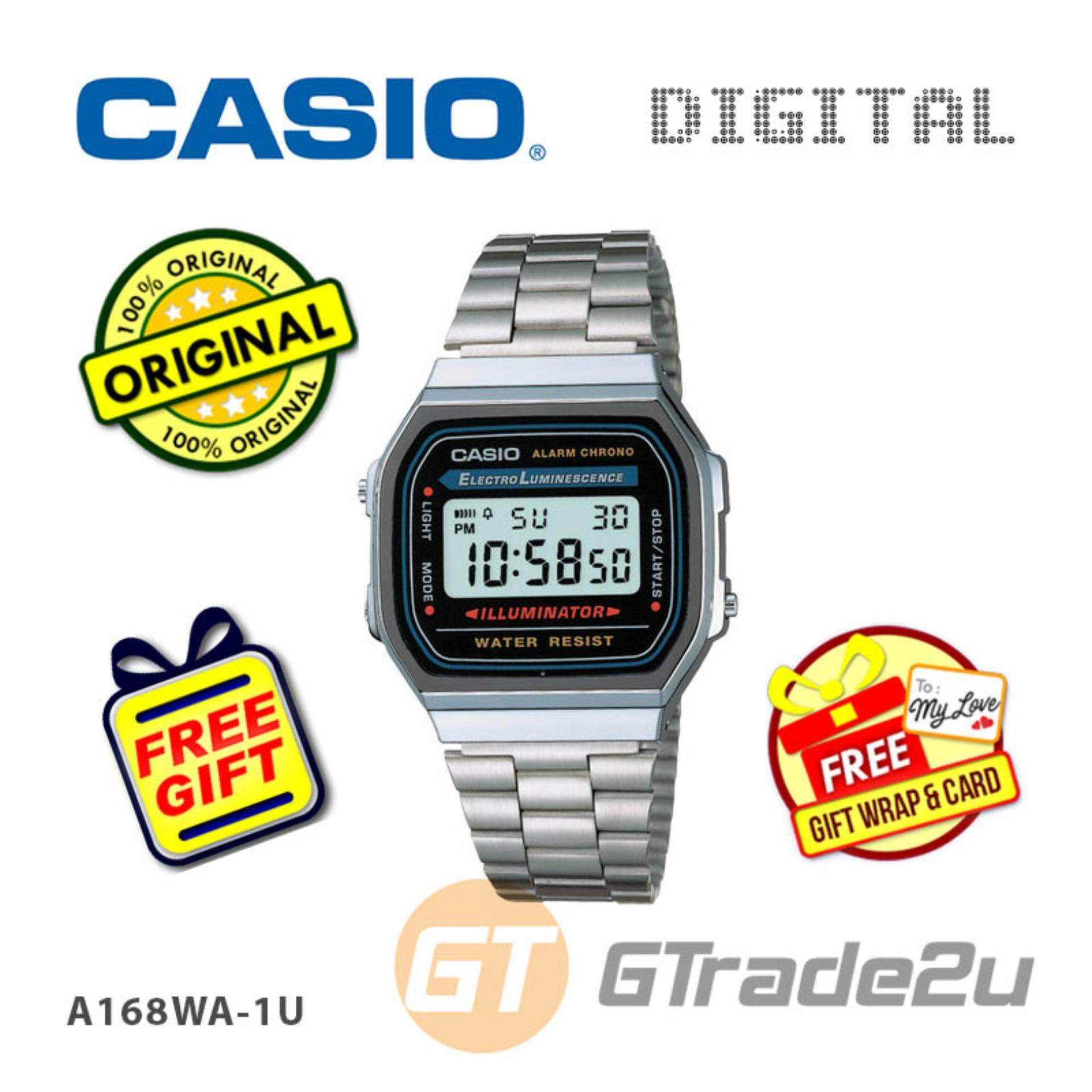 [READY STOCK] CASIO STANDARD A168WA-1U Digital Watch  Vintage Alarm Auto Calendar Malaysia
