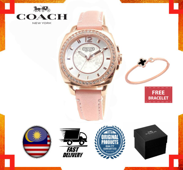 [GENUINE] Authentic 2 Years Warranty Coach Women Watch Pink Leather Rose Gold Boyfriend 14503151 Malaysia