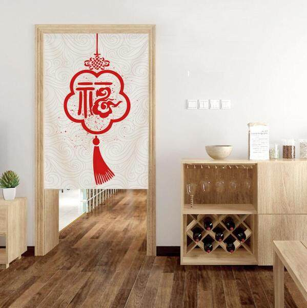 modern Chinese style Blessing Long Door Curtains With rod Bedroom Room Dividers Bathroom toilet Half Door Curtain Decoration Modern kitchen cloth short Door Curtain Window curtain set