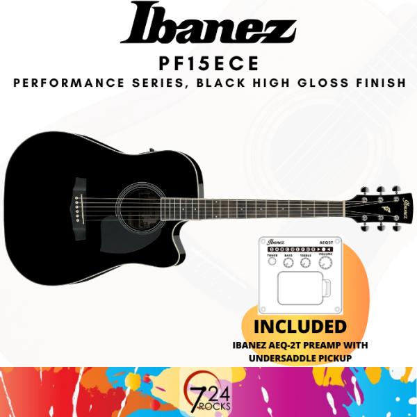 724 ROCKS Ibanez PF15ECE Performance Series Acoustic Electric Guitar ,Black High Gloss Malaysia