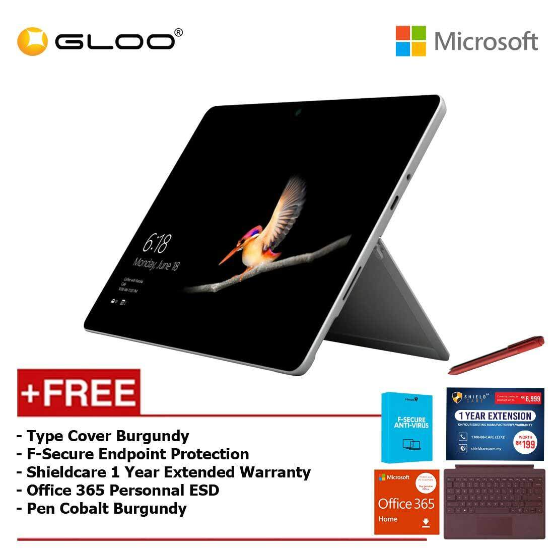 Microsoft Surface Go Y/8GB 128GB + Surface Go Type Cover Burgundy + Shieldcare 1 Year Extended Warranty 1 Year Extended Warranty + F-Secure Anti Virus + Office 365 Personal (ESD) + Pen Burgundy Malaysia