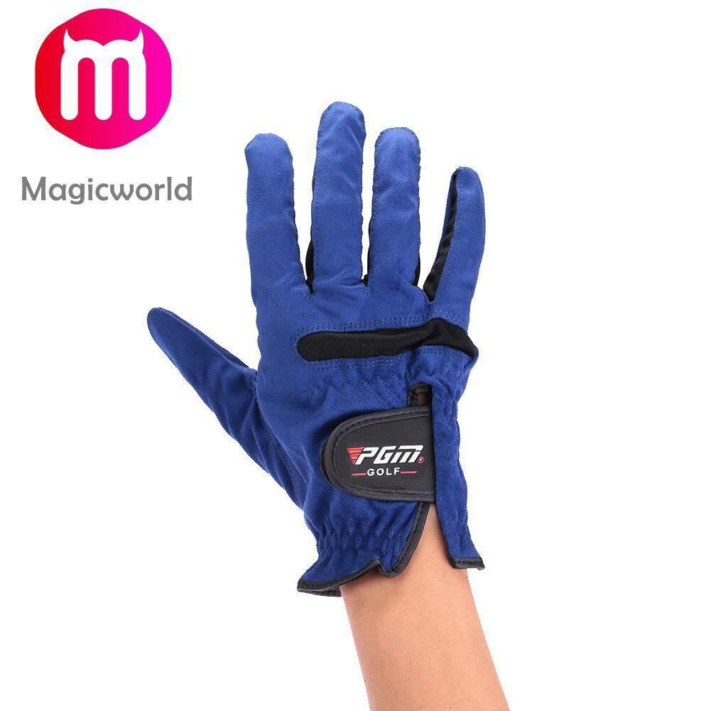 ชายสีฟ้า Premium Cabretta นุ่มถุงมือกอล์ฟถุงมือขนาด 23 24 25 26 27 หลา By Magicworldmall.