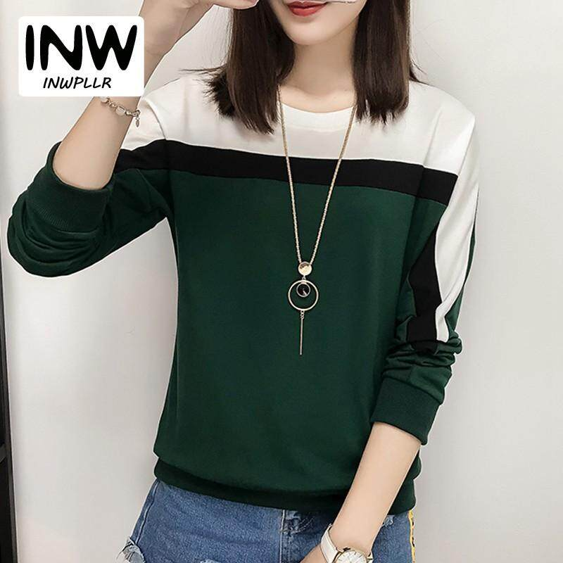 fedd045a INWPLLR New Korean Style T Shirt For Women Casual Patchwork Tshirt Women  Long Sleeve T-