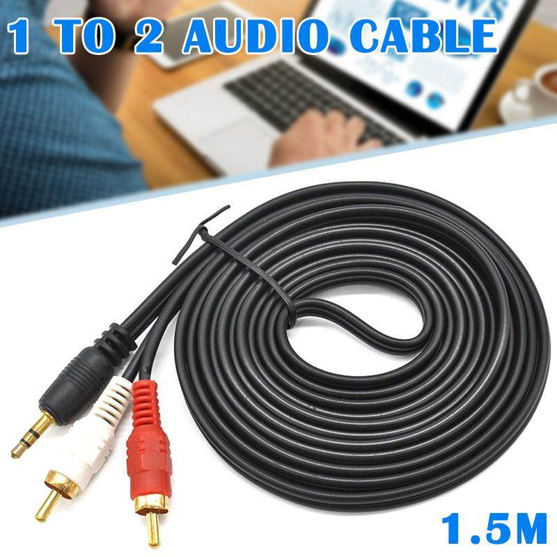3.5 MM Male Jack to AV 2 RCA Male Stereo Music Audio Cable Cord AUX for Mp3 Pod Phone TV Sound Speakers 1.5M/ 5M/10M