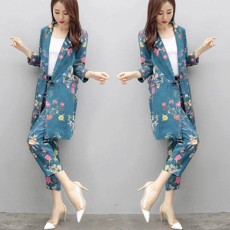 e33afa66581 Spring Autumn Women s Suit European Style Flower Pattern Fashion Casual  Suit Long-sleeved Pajamas Jacket