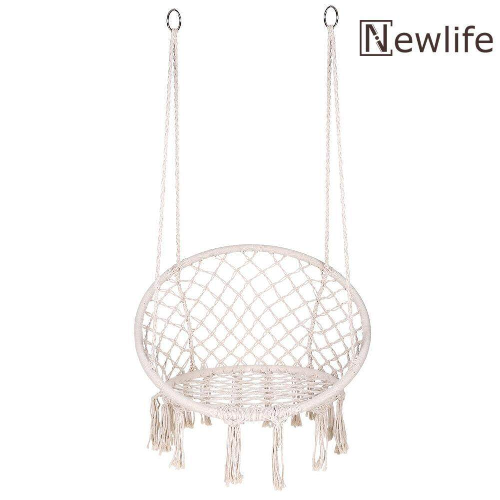 Safe Beige Hanging Hammock Chair Swing Rope Outdoor Indoor Bar Garden Seat
