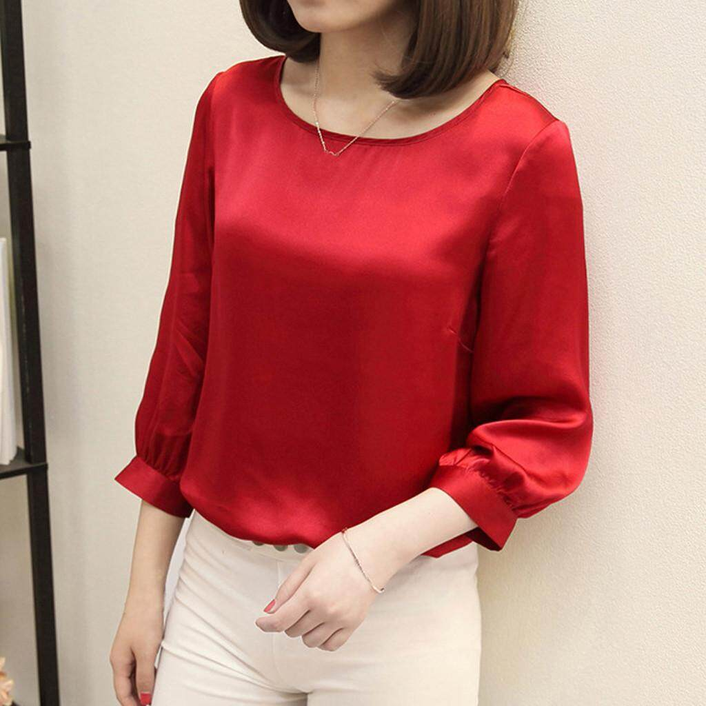 fb0a6fe60f21a8 JS Women Brief Office Work Wear O Neck Shirts Three Quarter Sleeve Casual  Tops