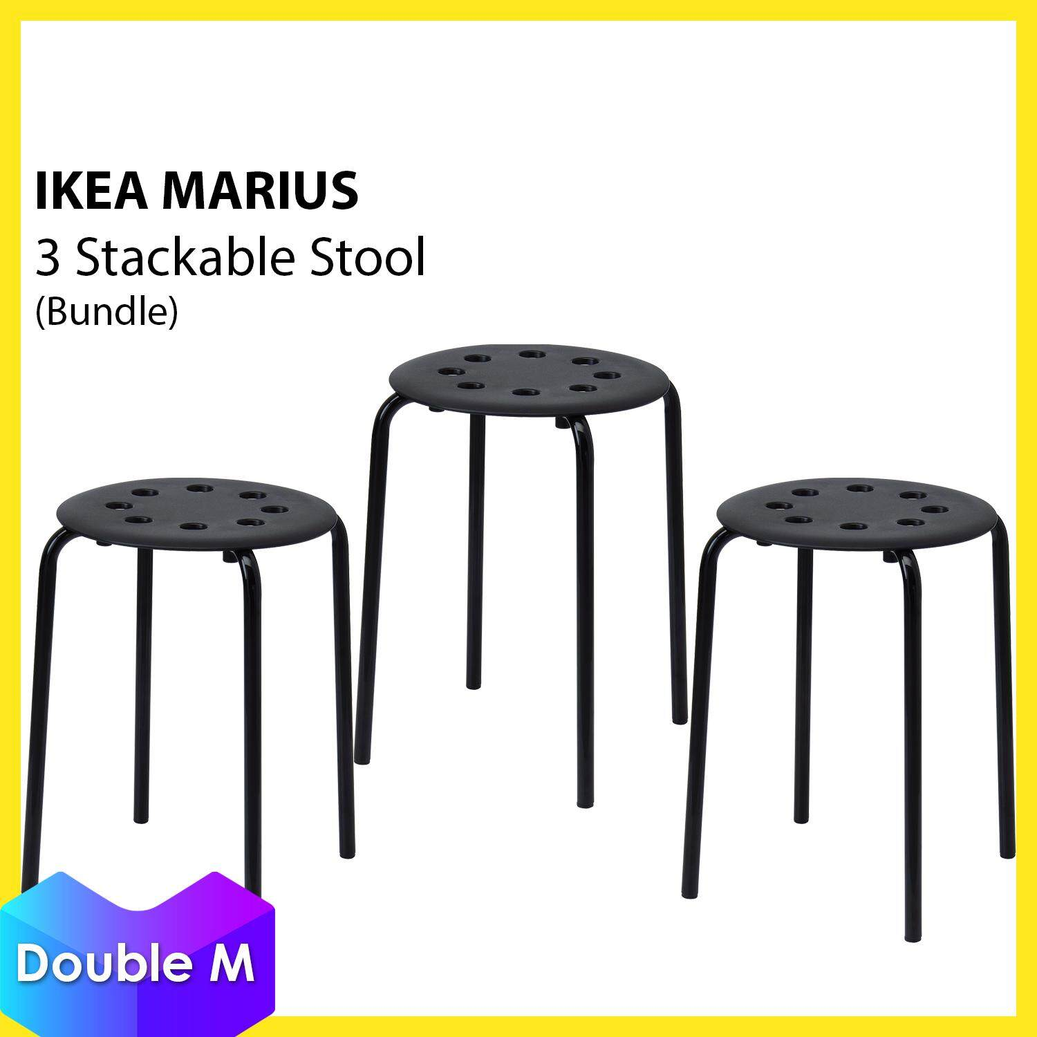 Ikea Marius Polypropylene Plastic In Outdoor Stackable Stool Chair 3 Pieces White Black Red