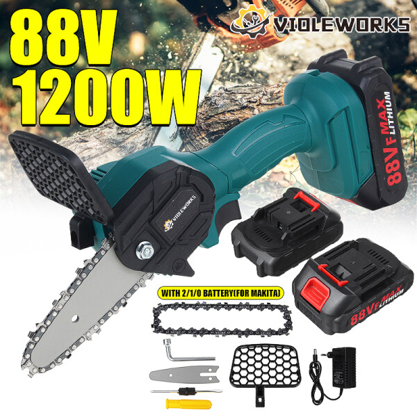 88V Electric Chainsaw Cordless Mini One-Hand Chain Saw Kits Power Saw Woodworking Wood Cutter Machine with Battery