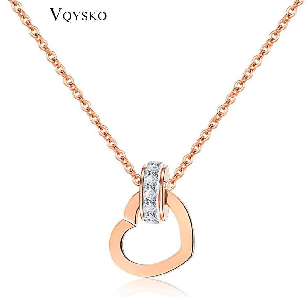 Arrival Europe Style Women Girl Gift Cubic Zircon Heart Pendant Necklace Rose Gold Stainless Steel Chain Jewelry By Cehvki.