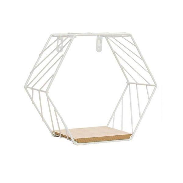 Allwin Geometric Iron Wall Shelf Wall Mounted Storage Rack Organization For Bedroom