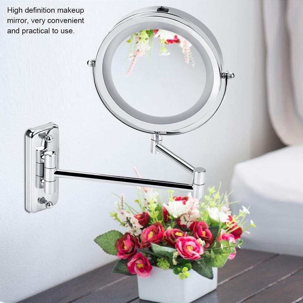 LED Wall Mount Makeup Mirror 360 Degree Rotate Swivel Lighted Mirror Bathroom Bedroom