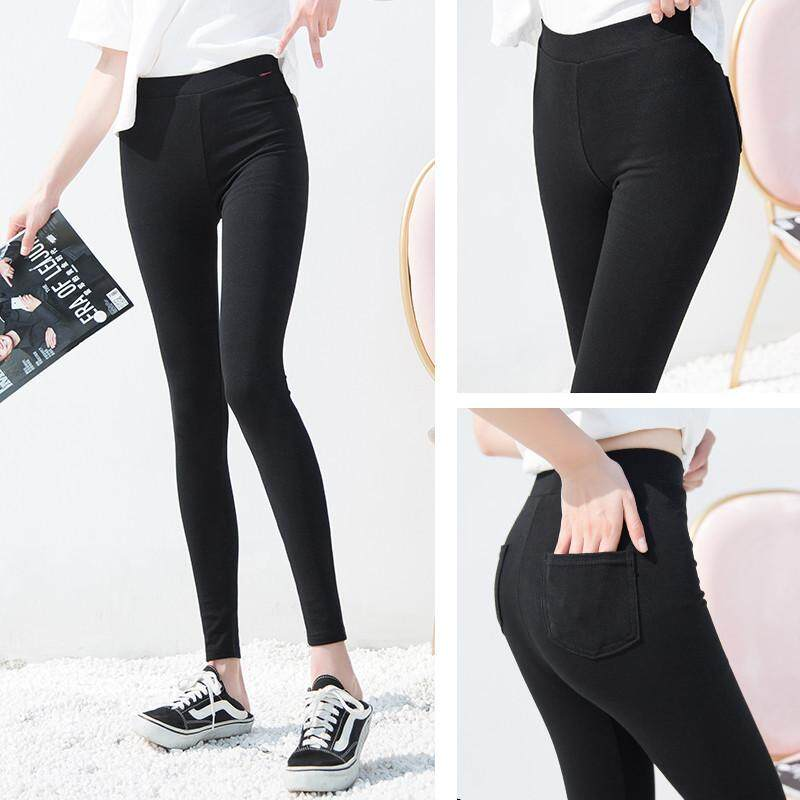 Leggings Women Wear Spring And Autumn Black Thin Section 2019 New Pocket High Waist Cotton Feet Pants Tight Nine Pants By Ruidiandian.