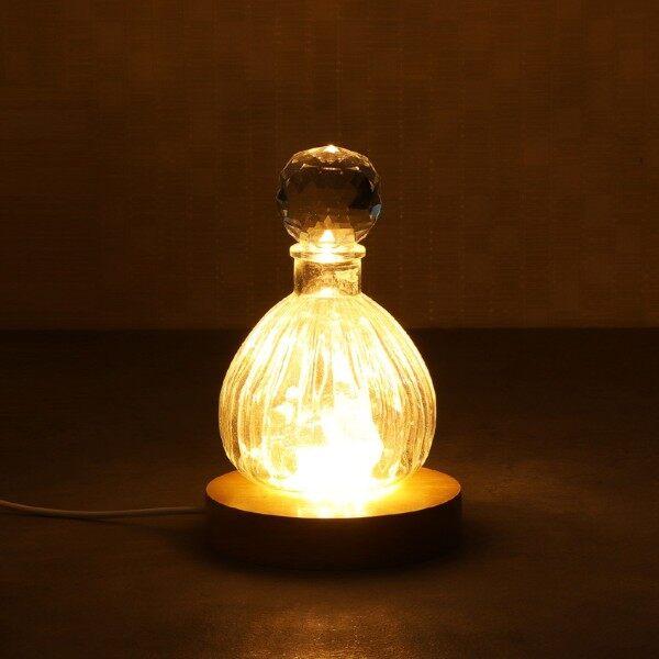Best※circular Đui Gắn Bóng Đèn Gỗ Đặc Giao Diện USB Trophy Đèn LED La-ze Chân Đế