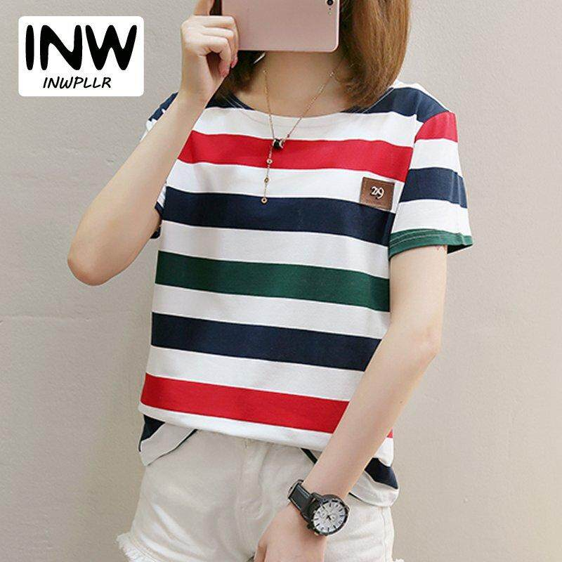 0fae4e378 INWPLLR New Korean-style T shirt For Women Short Sleeve Summer Tshirts  Colorfull Stripe T