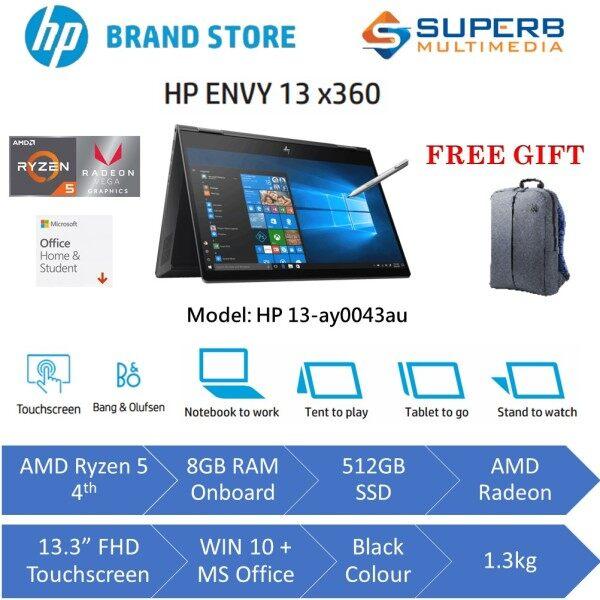 HP ENVY x360 - 13-ay0043au laptop (AMD Ryzen 5, 8GB Ram, 512GB SSD, Win10, OPI, Black) Malaysia