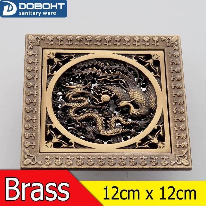 DOBOHT DR006-12A Brass Bathroom Yellow Bronze 12CM*12CM Floor Drains Traps