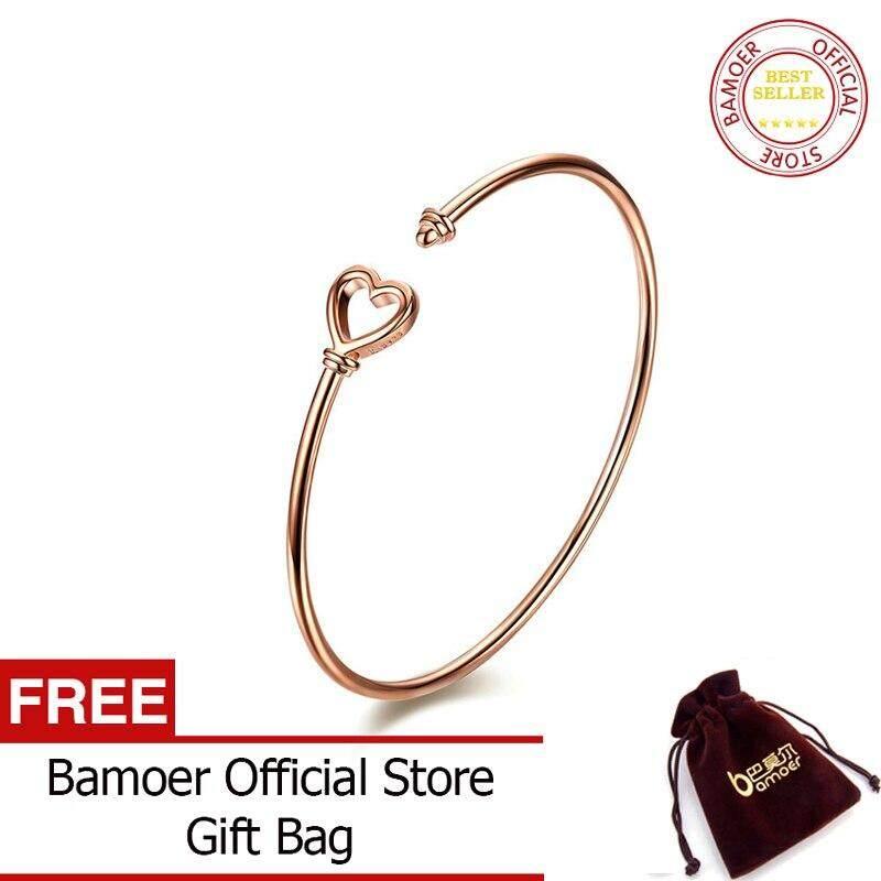 418ccf56a BAMOER Silver Bangle New 925 Sterling Silver Heart Shape Simple Women  Bracelets Bangles Female Sterling Silver