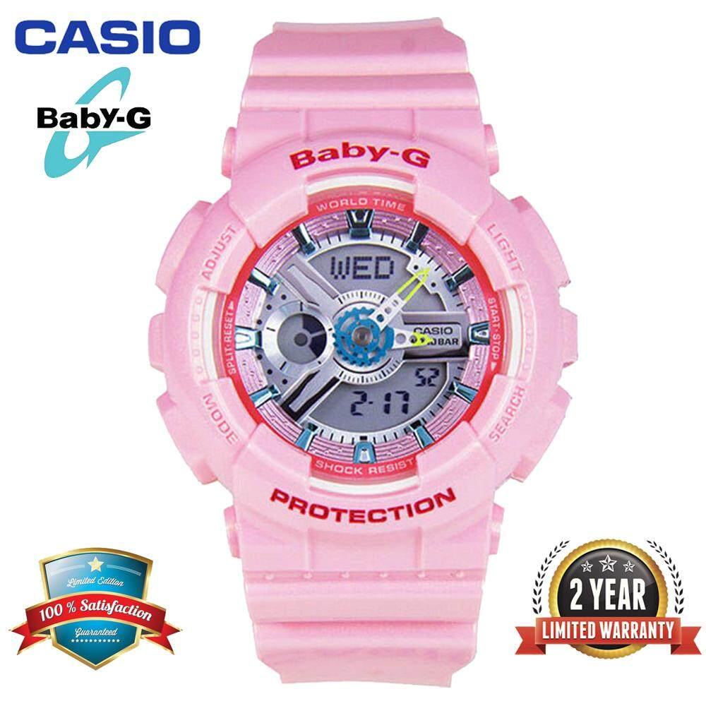 (Ready Stock) Original Baby G BA110 Women Sport Watch Duo W/Time 100M Water Resistant Shockproof and Waterproof World Time LED Light Girl Wist Sports Watches with 2 Year Warranty BA-110CA-4A Pink Malaysia
