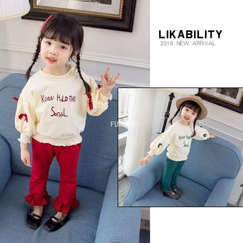 Furuidi เสื้อกันหนาวชุด 0-3 ปีสาว Bell กางเกง 2 ชิ้น/เซ็ต By Fu Rui Di.