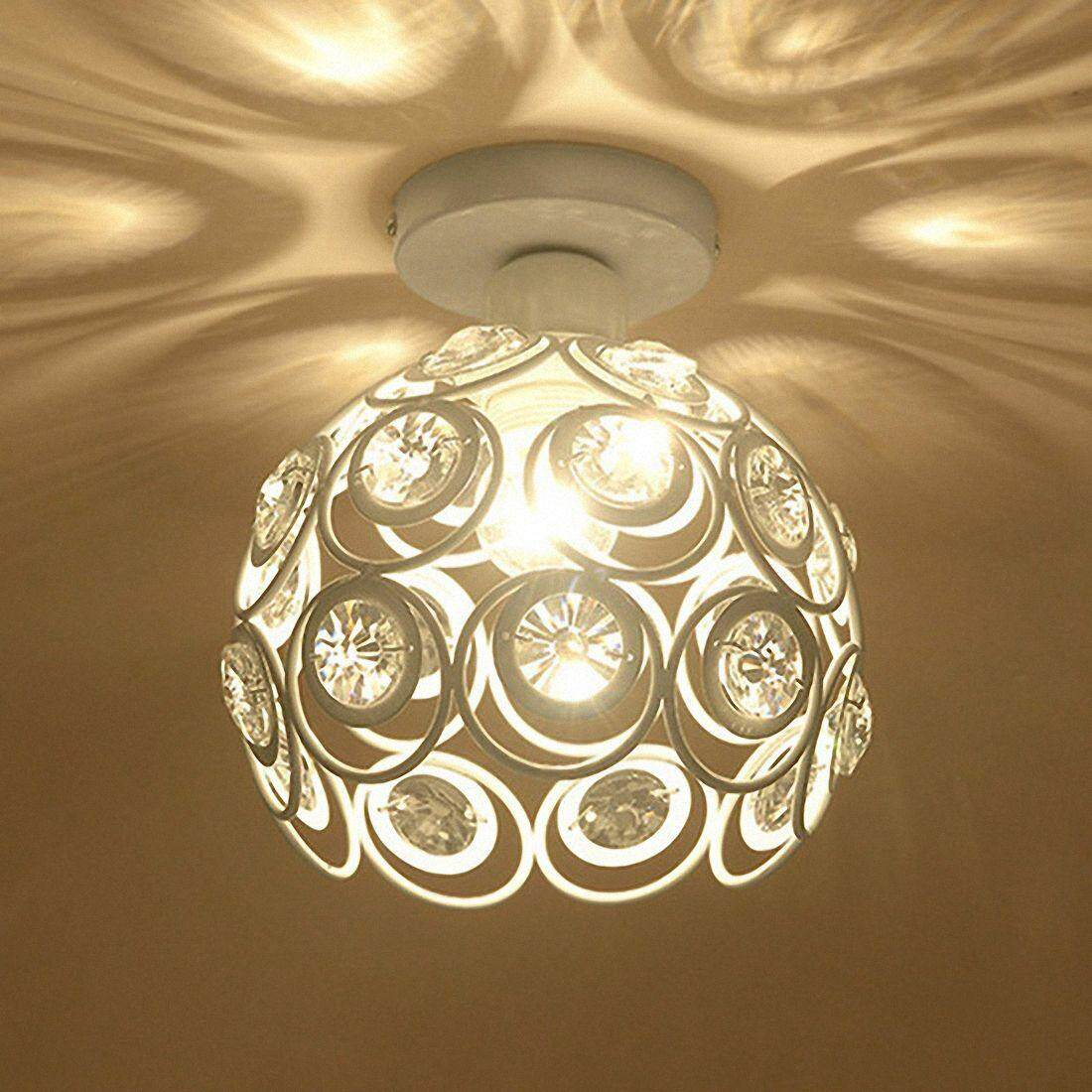 E27 Creative Crystal Minimalist Ceiling Light Simple Ceiling Lamp Bedroom Alley Simple European White Iron Lamp Crystal Lamp