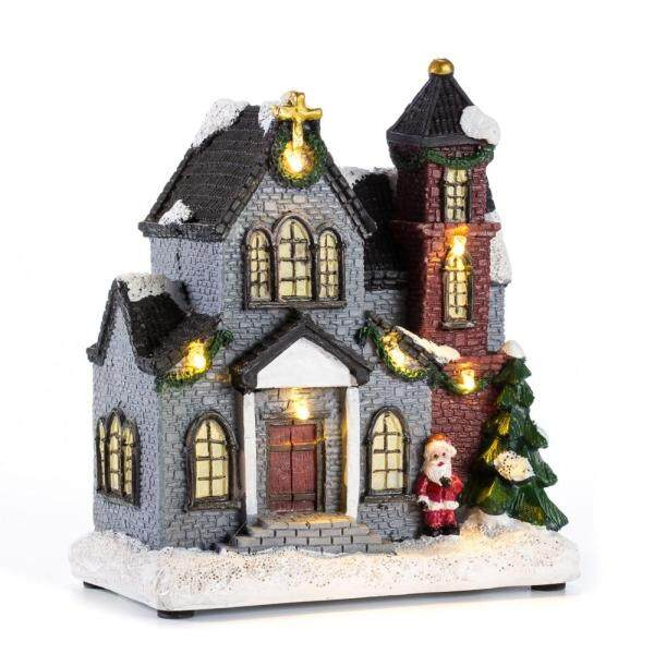innodept12 6 Resin Christmas Scene Village Houses Town With Warm White LED Light Holiday Gifts Christmas Decoration For Home
