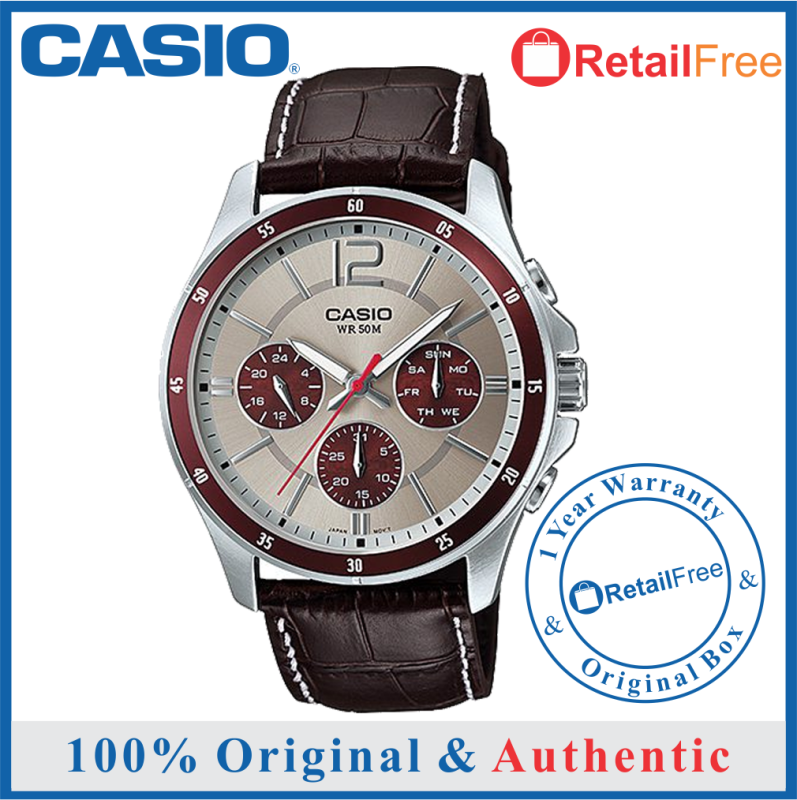 Casio 100% Original / 100% Authentic mens watch/ Casio watch men/ Casio watch for men/watch for man/watch for men Casio/ men watch / Jam tangan lelaki / Casio watch Casio MTP-1374L-7A1VDF Mens Multifunction Day Date BROWN Leather Watch Malaysia