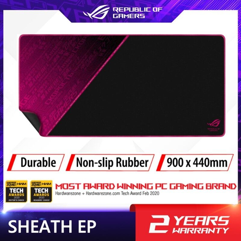 ROG Sheath Electro Punk with extra-large, gaming-optimized cloth surface, anti-fraying stitched frame, and non-slip rubber base Malaysia