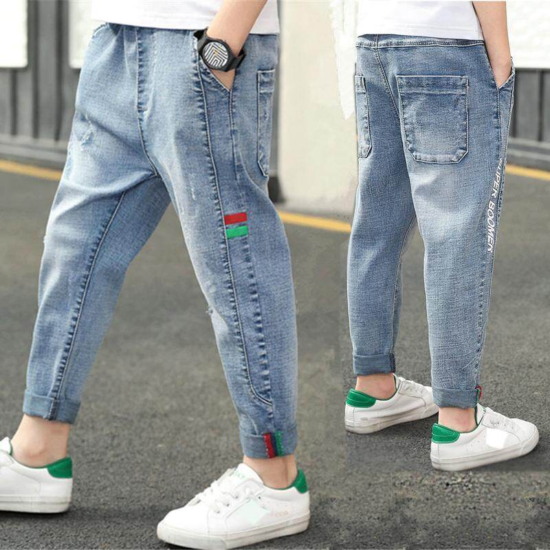 IENENS 5-13 Years Kids Boys Clothes Slim Straight Jeans Children Denim Clothing Long Pants Spring Autumn Baby Boy Casual Trousers Elastic Waist Bottoms
